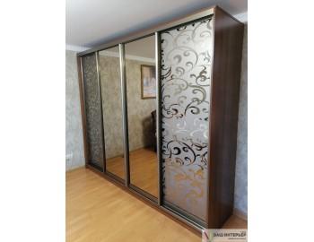 Шкаф зеркальный с пескоструйным рисунком