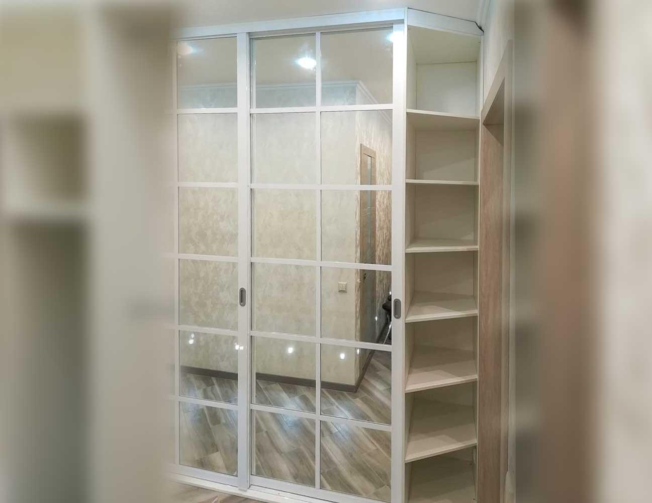 Встроенный шкаф-купе с зеркалами и делителями